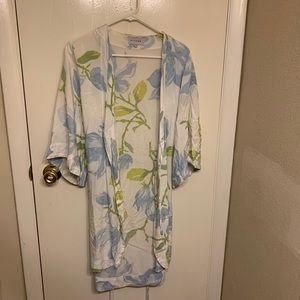 Blue, white, and green floral robe